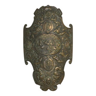 1900 Antique Renaissance Style Cast Iron Shield For Sale