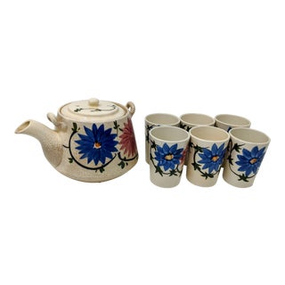1940s Vintage Japanese Teapot Set With Cups - 7 Piece Set For Sale