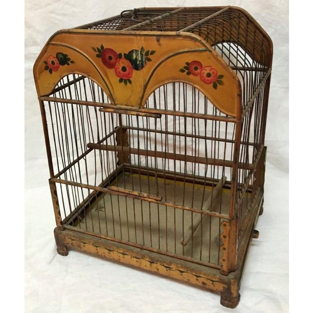 Victorian Wonderful European Tole Birdcage For Sale - Image 3 of 7