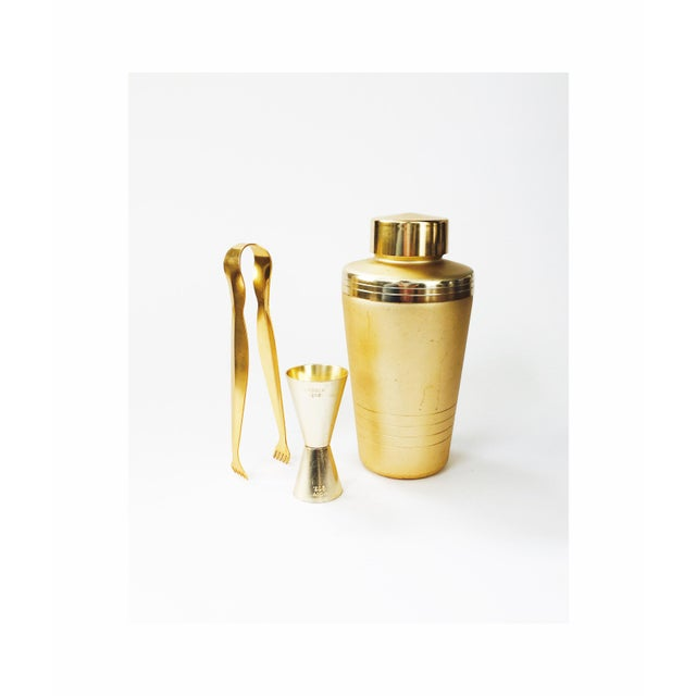 Vintage Mirro Mid-Century Matte Gold Cocktail Set - Set of 3 - Image 2 of 6