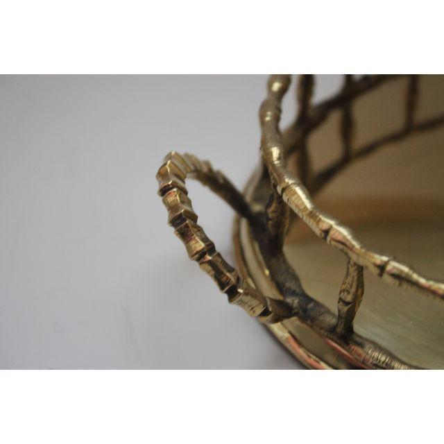 Oval Faux-Bamboo Brass Gallery Tray - Image 2 of 2