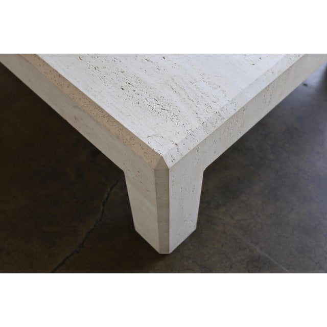 Mid-Century Modern Square Travertine Coffee Table Circa 1980 For Sale - Image 3 of 8
