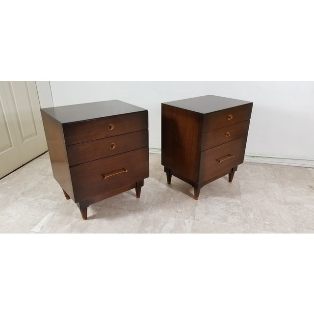 1970s Modern Walnut Nightstands - a Pair For Sale - Image 12 of 13