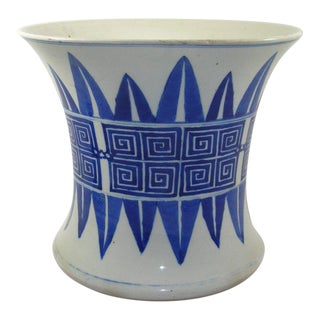19th Century Antique Chinese Blue and White Brush Pot For Sale