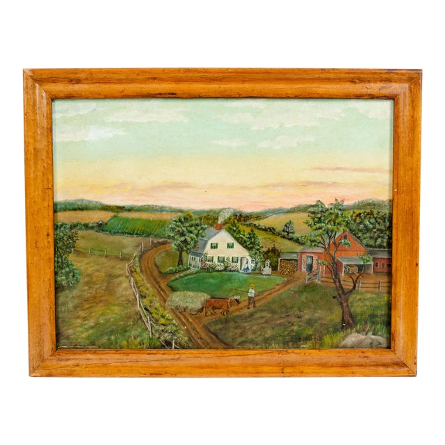 Mid-20th Century Wood Framed Oil / Board Painting For Sale