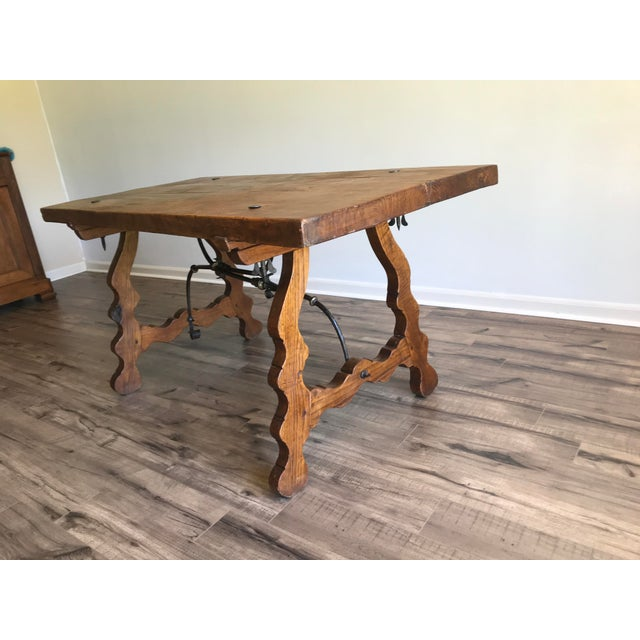 19th Century Spanish Trestle Table Desk With Iron Stretcher For Sale - Image 6 of 13