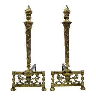French Empire Louis XVI Style Brass Column & Flame Finial Andirons - a Pair For Sale