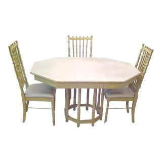 6 Chairs Dining Table Vintage Hollywood Regency Faux Bamboo Palm Beach For Sale