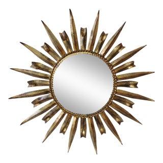 French Metal Sunburst Mirror