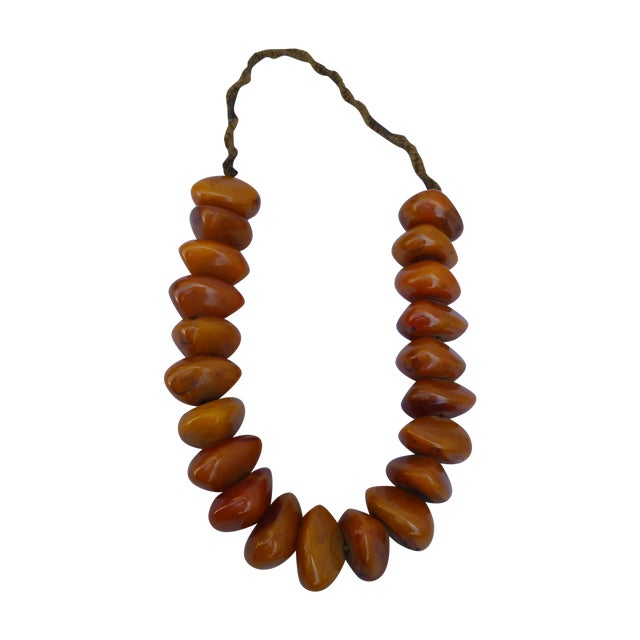 African Amber Bead Necklace - Image 1 of 5