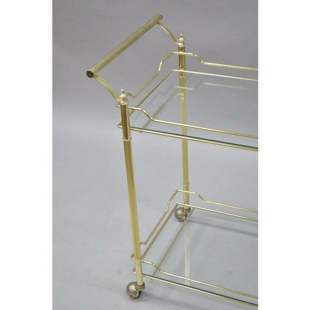 Mid Century Modern Brass Plated Metal & Glass Gold Rolling Bar Tea Cart - Image 5 of 11