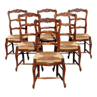 Set of 6 French Country Rush Seat Solid Walnut Dining Chairs .