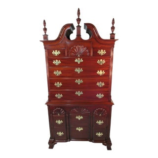 Vintage Custom Solid Mahogany 2 Piece Chest on Chest For Sale