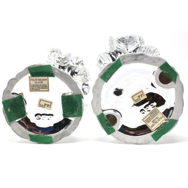 Vintage Fitz & Floyd Silver Palm Tree Candle Holders - Set of 2 For Sale - Image 10 of 13
