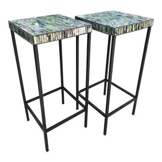 Contemporary Glass Mosaic End Tables - a Pair For Sale