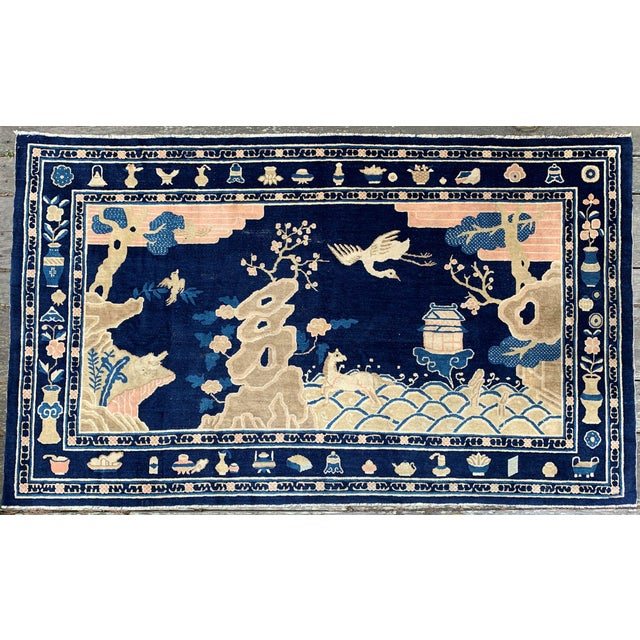 Antique 1910s Blue Chinese Pictorial Rug- 5′ × 8′ For Sale - Image 13 of 13