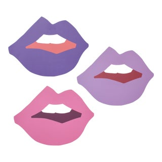 "Large ""Kiss Me"" Ultraviolet Cutout Prints by Angela Chrusciaki Blehm - Set of 3 For Sale"