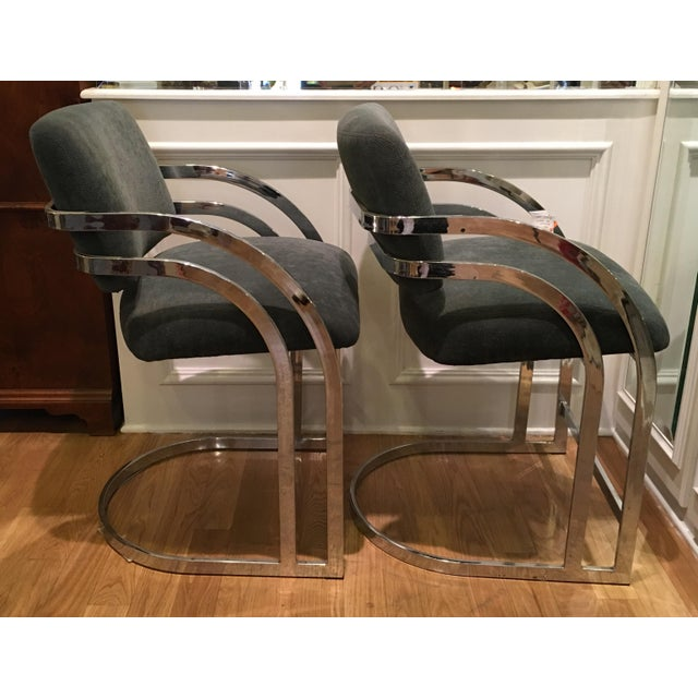 Mid-Century Milo Baughman Chrome Bar Stools - A Pair - Image 3 of 4