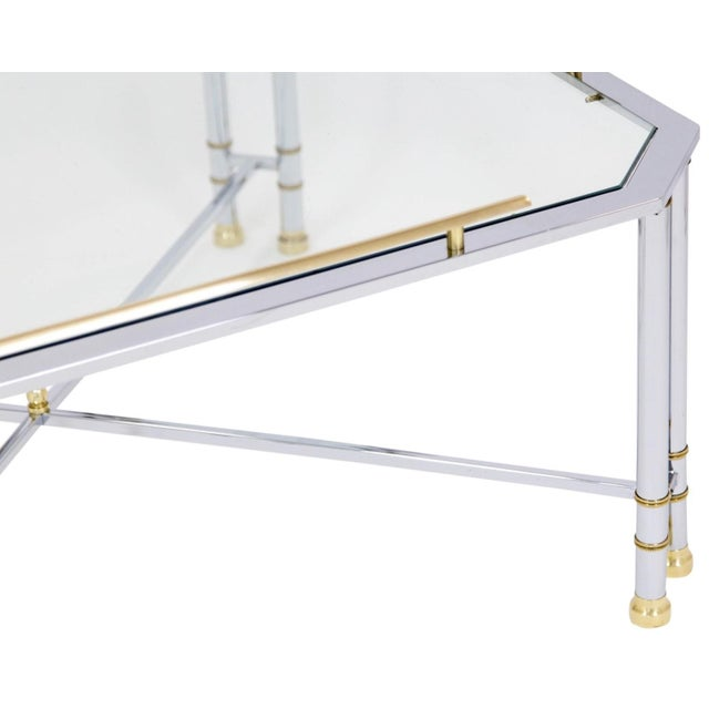 Metal Chrome Brass & Glass Coffee Table For Sale - Image 7 of 10
