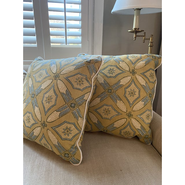 """New pair of custom pillows in Kathryn Ireland """"Graham"""" fabric. Highest quality designer linen textile with pattern in..."""