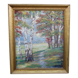Vintage 1930-1940s Wallace Howard Signed Birch Forest Landscape Oil Painting on Canvas For Sale