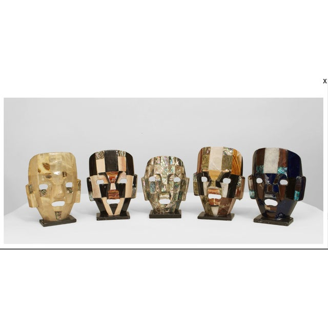 Gemstone Five Mid-Century Aztec-Inspired Maks of Semi-Precious Stone For Sale - Image 7 of 7