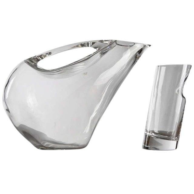 Crystal Pitcher and Glasses by Angelo Mangiarotti For Sale