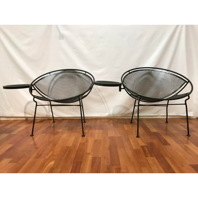 1950s Salterini Tempestini Radar Space Age MCM Mid-Century Modern Wrought Iron Lounge Patio Chairs With Tray Set #4 - a Pair For Sale - Image 13 of 13