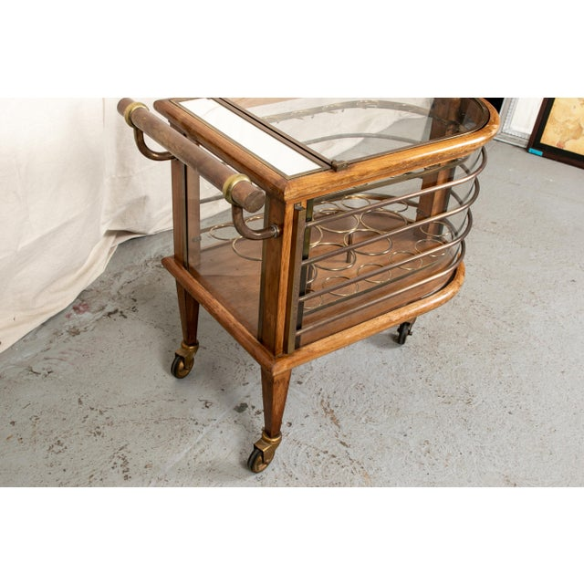 Brass Vintage Walnut and Bronze Bar Cart For Sale - Image 7 of 10
