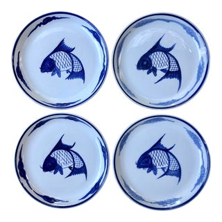 Mid 20th Century Japanese Hand Painted Koi Fish Ceramic Plates in Blue and White - Set of 4 For Sale