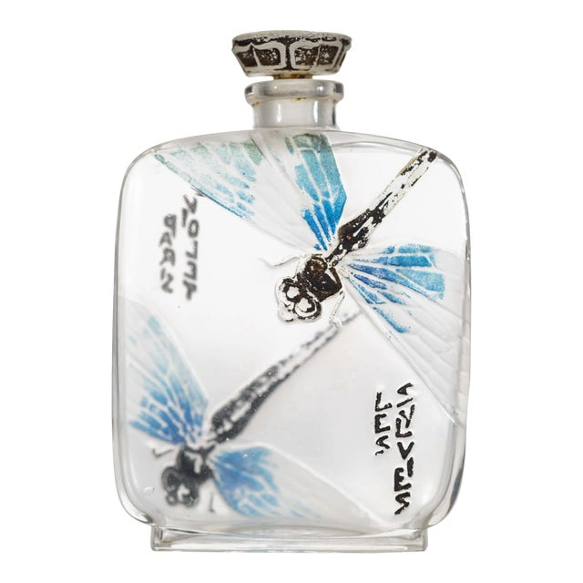 French Art Deco Rectangular Clear And Frosted Glass Perfume Bottle For Sale