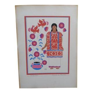 """Vintage Mid Century """"Mazateca-Estado De Oaxaca"""" Print by Carlos Merida For Sale"""