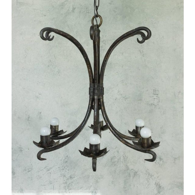 Spanish wrought iron chandelier with black waxed finish, six lights.