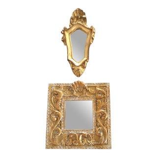 Small Gilt Wall Mirrors - a Pair