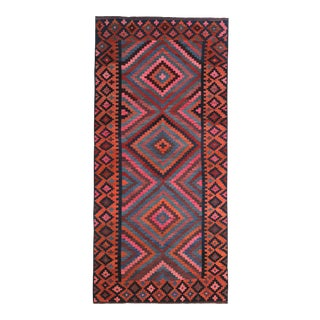 Modern Turkish Kilim Rug With Red, Pink & Blue Tribal Pattern For Sale