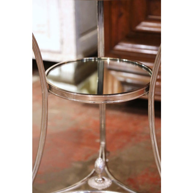 Late 20th Century Vintage French Directoire Silver Plated Metal and Mirrored Top Guéridon Table For Sale - Image 5 of 9