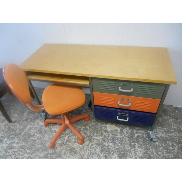 Mid-Century Industrial Writing Desk & Chair - A Pair For Sale - Image 6 of 6