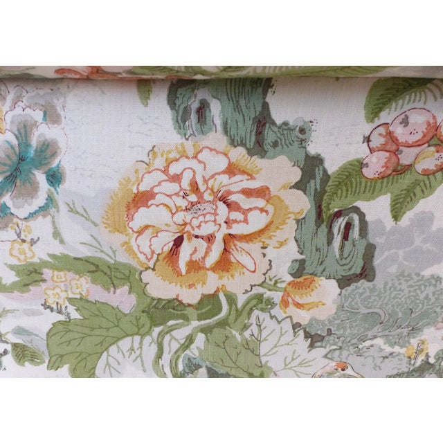 Overscale Pair of Chinoiserie Upholstered Club Chairs With Down Cushions For Sale - Image 10 of 12