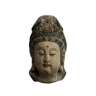 Vintage Rustic Wooden Carved Kwan Yin Bodhisattva Head Statue For Sale