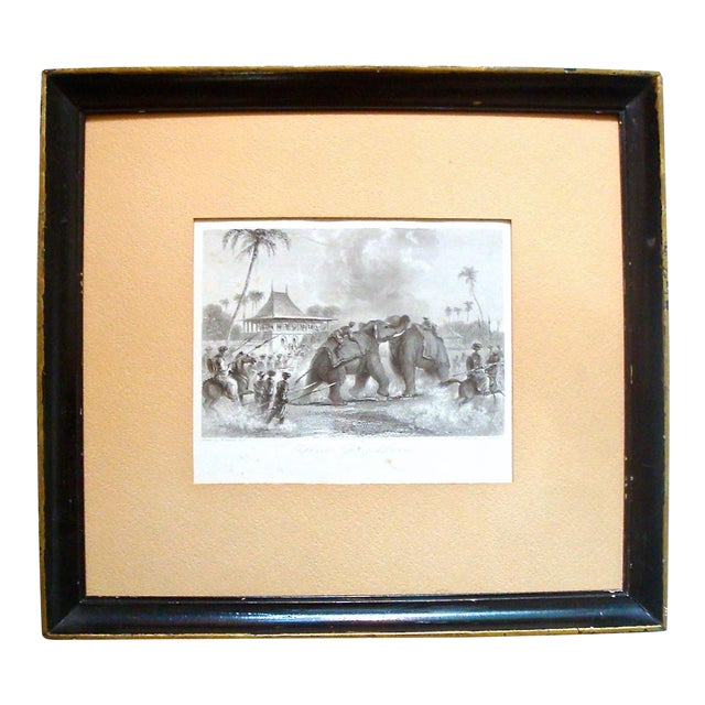 Chinoiserie Black and White Engraving of Elephant Fight For Sale