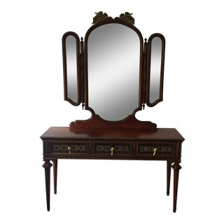 Brass Detailed Console Table & Mirror