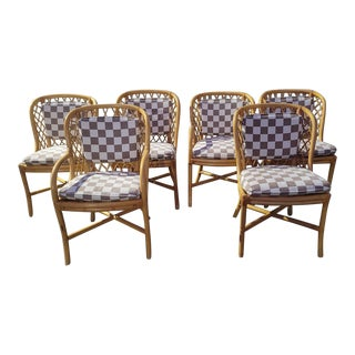 Vintage Mid Century Bamboo Rattan Dining Room Chairs - Set of 6 For Sale