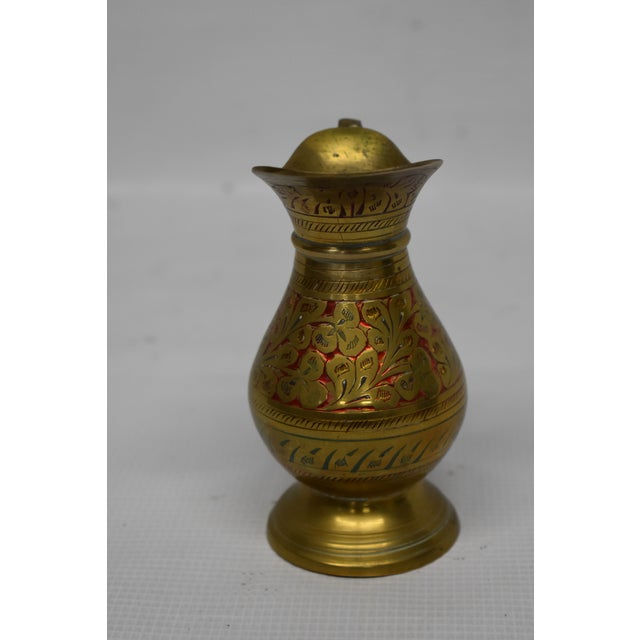 Asian Vintage Indian Brass Vase For Sale - Image 3 of 5
