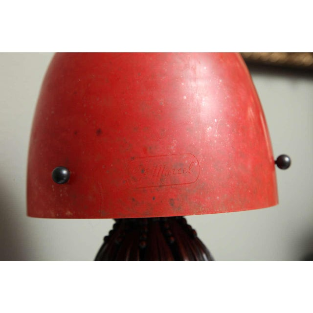 Metal Louis Katona French Wrought Iron and Glass Table Lamp For Sale - Image 7 of 8