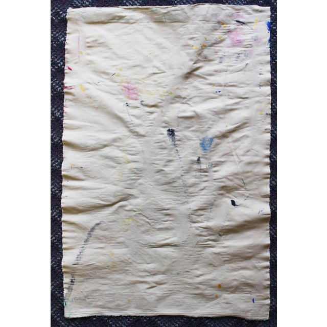 Blue Korean Abstract Expressionist Textile Fabric Painting by Younghui-Kim For Sale - Image 8 of 9