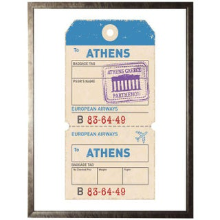 Athens Travel Ticket Print in Pewter Shadowbox Preview