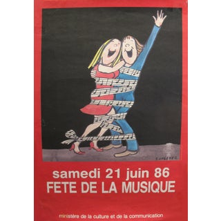 "1986 Original Vintage French Music Festival Poster, ""Fête De La Musique"" For Sale"