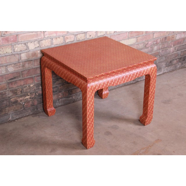 Baker Furniture Mid-Century Hollywood Regency Red Lacquered Grass Cloth Side Table For Sale In South Bend - Image 6 of 12