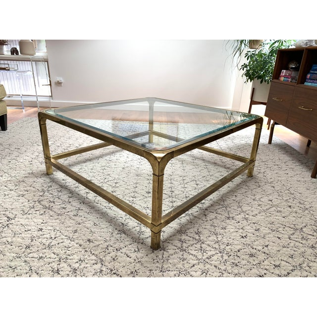 1970s Hollywood Regency Mastercraft Brass and Glass Square Cocktail Table For Sale - Image 13 of 13