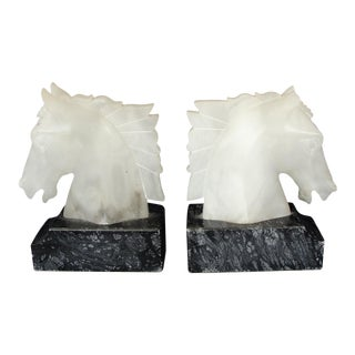 Mid-Century Modern Black & White Alabaster Horse Bookends - A Pair